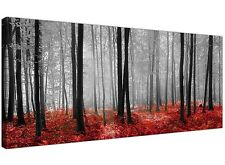 Modern Black White and Red Canvas Prints of Forest Trees for your Dining Room