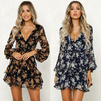 Womens Boho Floral Chiffon Summer Party Evening Beach Short Mini Dress Sundress