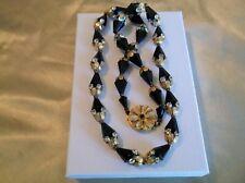 "Vintage Art Deco Black Conical Bead Gilt Rhinestones 22"" Flower Clasp Necklace"