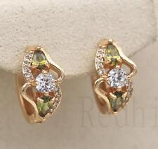 18K Gold Filled - Swirl Waterdrop Hollow Peridot Topaz Geometry Hoop Earrings