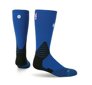 Stance NBA On-Court Solid Men Blue Crew Socks Fusion Basketball Size 9-12 L New