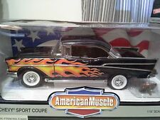 ERTL 1/18 Custom 1957 CHEVY BEL AIR COUPE Black w Flames Mirror Dice & Food Tray