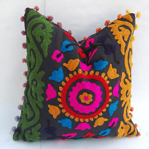 16'' Flower  Embroidered Suzani Round Cushion Cover squire Pillow Case SSTH-54