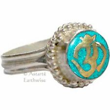RING: ADJUSTABLE OM TURQUOISE RING Wicca Pagan Witch Goth Yoga Ganesh