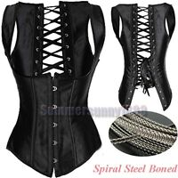 Spiral Steel Boned Black Waist Training Underbust Corset Cincher Vest Shaper Top