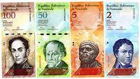 LOT 4 BILLETS VENEZUELA  2 & 5 & 50 & 100 BOLIVARES 2007 -  2015 UNC NEUF