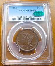 1853 BRAIDED HAIR LARGE CENT GRADED PCGS CAC MS66 GREAT COLOR AMAZING LUSTER