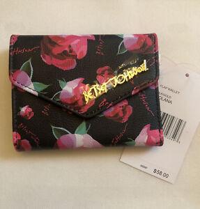 Betsey Johnson XOLANA Bi-fold Flap Wallet Black & Rose Print Gold Logo NWT