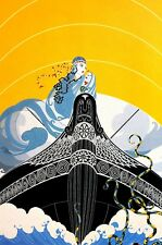 Erte 1987 SURPRISES of the SEA MONSTER OCTOPUS Matted Art Deco Fashion Print