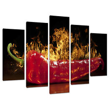 Set Five Panel Red Kitchen Canvas Wall Art Pictures Dining Room 5132