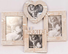 Wall Hanging 4 Multi Photo Frames Journal Design Shabby Chic Vintage Wood