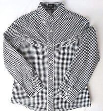 Camisa señoras tamaño 8 Pop England comprobación de Manga Larga Negro Blanco Botones a presión