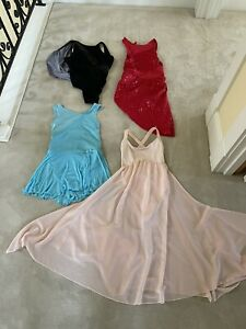 Lot of 4 girls L LC Repetto 14A pink red blue black leotard dress dance costume