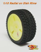 Tire 1:10 Touring Radial SP SOFT for Himoto Kyosho Tamiya VELOCITY YELLOW 4pcs.