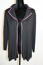 Misook All Black Pink Trimmed Classic Cardigan Blazer Sweater Knit Duster Size S