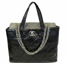 CHANEL Black Leather 2 Way Tote Bag