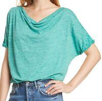 Free People Womens Tops Green Medium M Slub-Knit Boat-Neck Astrid Tee $58 558