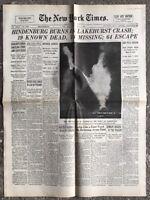 N148 La Une Du Journal The New York Times 7 Mai 1937