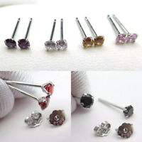 Girls Ladies 925 Sterling Silver Small Stud 3mm Earrings Clear White Red Crystal