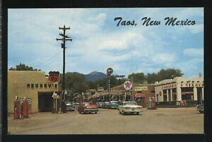 NM Taos CHROME PC 1950's STREET SCENE Edsel Car TEXACO GAS & Phillips 66 Sign