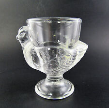 VINTAGE GLASS FOOTED EGG CUP CHICK CHICKEN MADE IN FRANCE  (W5-1)