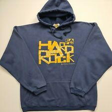Hard Rock Cafe Queens Town New Zealand Men Hoodie Pullover Blue Logo Size S