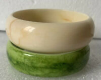 Pair Wide Vintage Lucite Chunky Bangles Bracelets Marbled Green And Cream