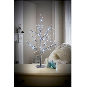 70cm Pre-Lit Jewelled Glitter Twig Tree Silver & Gold Christmas Decorations DAM