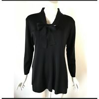 Exclusively Misook Womens Size Small Black Blouse Bow Neck Tie Shirt Top