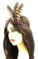 Red indian native american feather coiffure bandeau marron pocahontas boho 619