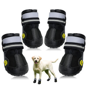 4pcs Reflective Dog Walking Running Boots Waterproof Shoes for Medium Large Dogs