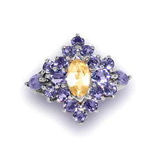 Natural Yellow Sapphire & Tanzanite Cluster Sterling Silver 14k White Gold over