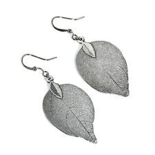 Natural Real Leaf Earrings Fashion Big Statement Drop Earrings For Women Jewelry