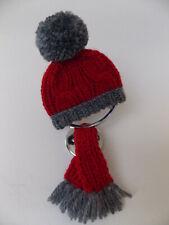 * grau-rote Mütze + Schal für Ihren Mercedes Stern * mit Befestigung * NEU *#36