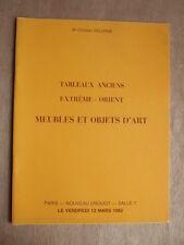 CATALOGUE ENCHERES 1982 DELORME TABLEAUX ANCIENS EXTREME ORIENT MEUBLES OBJETS