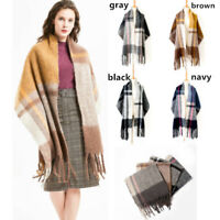 Women Blanket Scarf Plaid Shawl Plaid Winter Warm Shawl Pashmina Thick Tassels