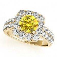 1.58 Ct Yellow Canary And White Diamond Yellow Gold Engagement Ring Classy Style