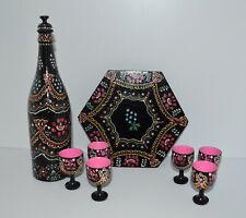 Vintage Czechoslovakian Wooden hand painted Wine Bottle 6 Pedestal Cups