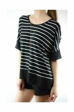 Classic Neckline 3/4 Sleeve Striped Tops & Blouses for Women