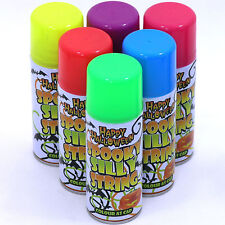 12 x Silly Crazy String Spray Halloween Purple Blue Green Red Yellow Pink 200ml