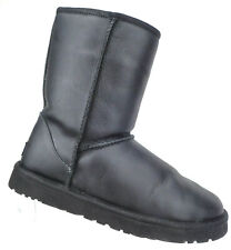 UGG Classic Short Leather Black Water Resistant Winter Boot Women's Size 10