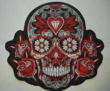 """9.5"""" énorme grand Neon RED Tribal Sugar Grim Reaper motorcycle Ecusson patch"""