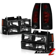 {10PC Combo} Bumper+Corner+Headlamps Sinister Black Tail Lights 94-98 Silverado