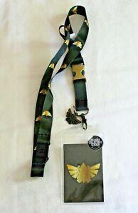 The Legend of Zelda Hylian Crest Dark Green ID Card Holder Lanyard Metal Charm