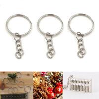 20Pcs Bulk Split Metal Key Rings Keyring Blanks With Link Chains For DIY Craft