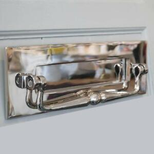 POLISHED NICKEL TRADITIONAL LETTERBOX WITH CLAPPER (*ATC)