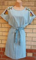 FLORENCE & FRED BLUE DENIM FLORAL EMBROIDERED SHORT SLEEVE BELTED MINI DRESS 12