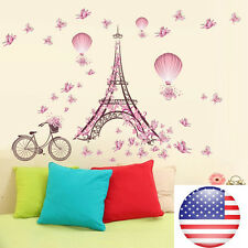 Home Decor Bedroom Removable Paris Eiffel Tower Art Decal Wall Sticker Mural_US