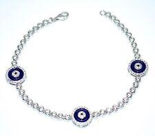 925 Sterling Silver White Gold Hamsa Evil Eye Dark Blue Bracelet Cz