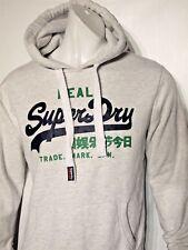 Superdry large vintage logo men's fleece hoodie size large light heather gray